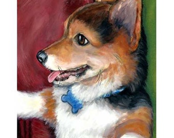 Corgi Art Print of Original Painting, Corgi puppy sitting up, Dog Art