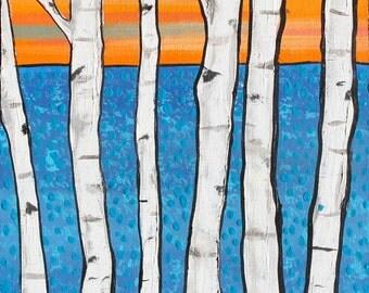 Birch Trees Modern ocean sunset Print Shelagh Duffett