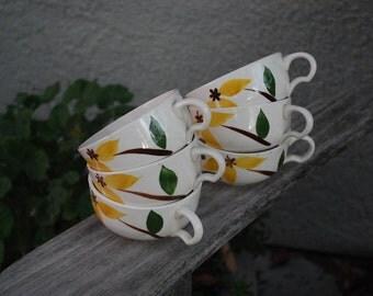 Vintage Mid Century Golden Jasmine Cups Mugs (6)