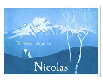 Personalized Bookplates - Vintage Blue Mountain - Nature Lover, Father's Day Gift