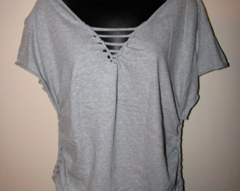 custom backless V neck shredded t shirt