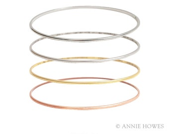 Stacking Bangle Bracelet. Domed Bangle. Adorn with A Charm for An Easy Gift. BBDS