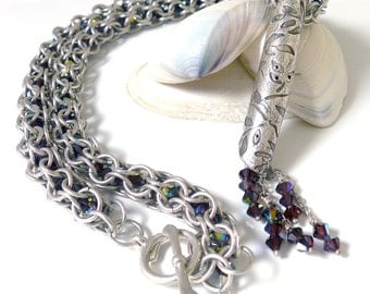 Burgundy Crystal and Chainmaille Necklace