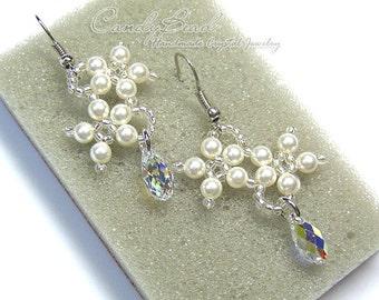 Swarovski Crystal Earrings-White Pearl Flowers and AB drop Swarovski Crystal