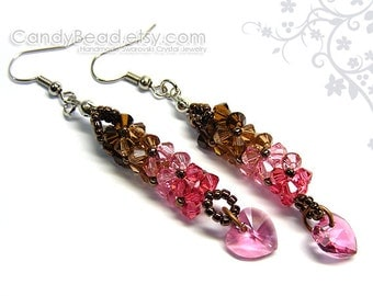 Swarovski earrings - Luxurious Coco Raspberry Swarovski Crystal Earrings by CandyBead