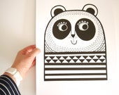 Happy Panda Screen Print by Jane Foster retro geometric