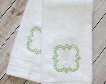 Embroidered hand towels // Hand towels // Quatrefoil // designer hand towels // custom towels // guest towels