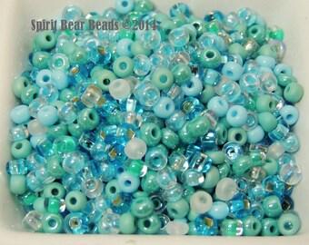 Caribbean Breeze Glass Blue Green Czech Glass seed bead mix size 6