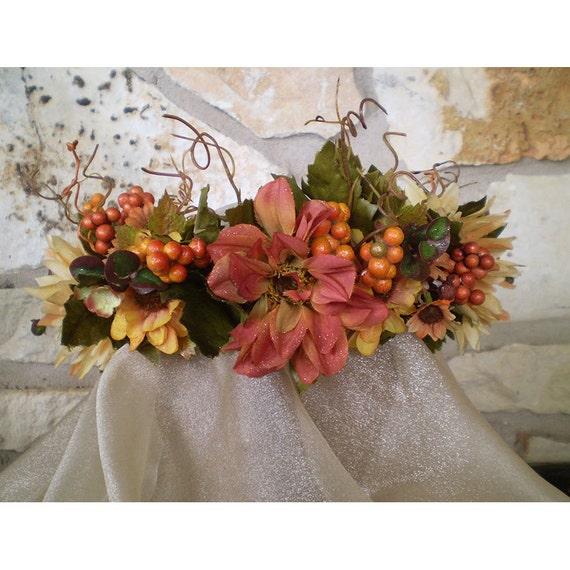 Autumn Equinox floral head wreath flower crown women's flower accessory renaissance faerie costume