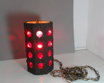 Mid Century ModernSwag Lamp with Lucite Balls and Carved Wood