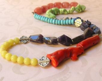 Necklace long stone color block Nomad Treasures SALE HALF PRICE!