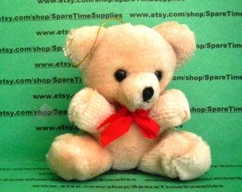 """Plush Bear - sitting - tan - 3 1/2"""" - 1 pc - Fibre Craft - #8245"""