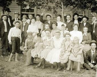 vintage photo 1898 Cabinet Rural Country Folks Children Kansas
