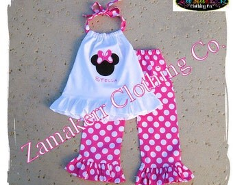 Toddler Girl Minnie Birthday Outfit Set - Pink Polka Dot Pant Set - Ruffle Outfit Set Size 3 6 9 12 18 24 month 2t 2 3t 3 4t 4 5t 5 6 7 8