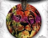 Lion Necklace -  Leo Glass Art Shimmerz Tribal Necklace - S.T.R.E.E.T.Z Collection Unisex Glass Art  -  Lion King Tribal Rainbow Necklace