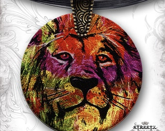 Lion Necklace -  Leo Glass Art Shimmerz Tribal Necklace - S.T.R.E.E.T.Z Collection Unisex Glass Art  -  Lion King Tribal Rainbow Necklace