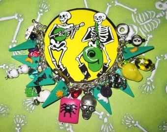 Halloween Bracelet Halloween Jewelry Charm Bracelet Funky Beads Trinkets Moon Spider Skull Bat Frankenstein Fun Eclectic Statement Piece