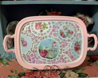 Pretty and Shabby China  Mosaic Pink Roses and Blue Tray