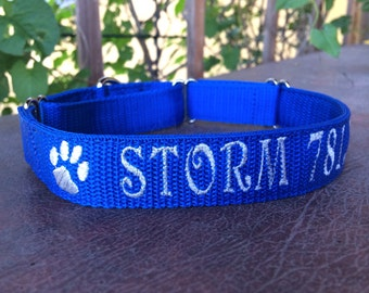 Personalized ID Martingale Dog Collar - Embroidered Dog Collar - Identification Collar
