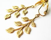 Brass Leaf Clip-on Earrings, Lightweight Gold Leaves Earring Clips, Leafy Branches, Gold Ear Clips, Handmade Woodland