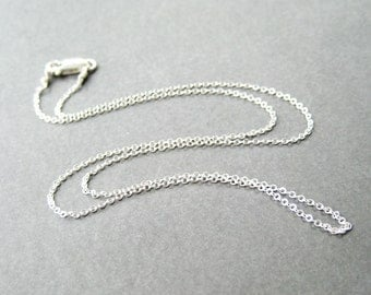 18 Inch Sterling Silver Chain Necklace, .925 Sterling Silver Fine Gauge Cable Chain, Simple Necklace, Lobster Claw Clasp, Handmade
