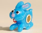 Handmade Blue Bunny ( rabbit ) Glass Lampwork Animal Bead fit Europian charm bracelets silver plated