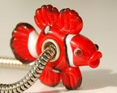 Handmade clown Fish Glass Lampwork Animal Bead fit Europian charm bracelets silver plated