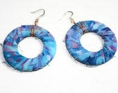 Fabric Wrapped Large Hoop Earrings Blue Batik Fabric