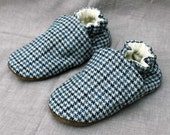 Houndstooth Wool Kids Slippers Leather Bottom fits 2-3 years old