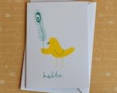 Hello Bird & Feather - Original Screenprinted Card