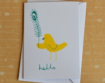 Hello Bird & Feather - Original Screenprinted Card