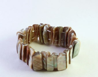 Light Tan Natural Shell Bracelets, Double Drilled Sticks, Wholesale Bead Supplies