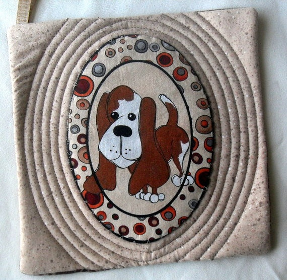 Set of 3 Dog Potholders, Dog Mug Rugs, Dog Coasters, Tan, Rust, Basset Hound, Beagle, Bloodhound,