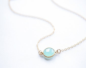 Aqua Blue Chalcedony and Gold Filled Chain Choker Necklace - Also Available in Longer Lengths
