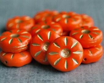 Mandarin Orange Czech Glass Bead 12mm Daisy Flower :  10 pc