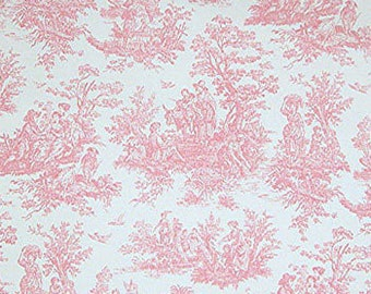 Pink toile valance baby valance baby pink valance 52 wide 14 long