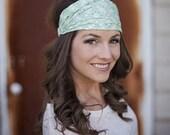 Mint Green Headband, Mint Green Head Band, Minty Green Headband, Minty Green Head Band, Bandana Headband, Bandana Print Headband Extra Large