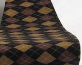 Wide Brown & Black Argyle Print Women's Fabric Headband