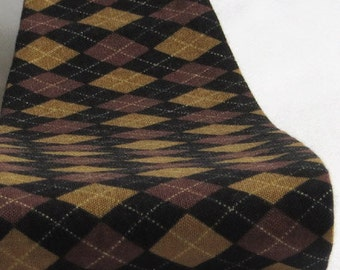 Wide Brown & Black Argyle Print Women's Fabric Headband
