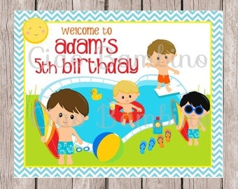 PRINTABLE Pool Party Birthday Sign for Boys / Choose Your Hair Color / You Print