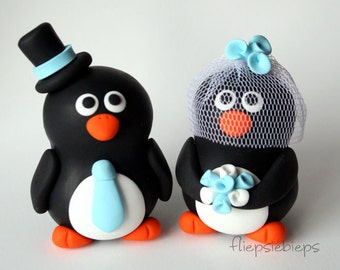 Custom Penguin Wedding Cake Topper (2.5 inch)