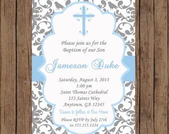 BOY Baptism Invitation / Christening Invitation / Baptism Invitation / Dedication Invitation / Damask Invitation / Baby Dedication/PRINTABLE
