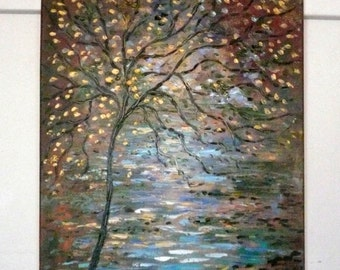 original oil painting modern impasto knife copper gold blue green  trees stream  landscape  Vadal 20 x 16