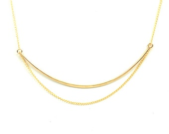 Delicate Gold Chain Necklace, Modern, Simple, Dainty, Minimal Gold Necklace - Verge Necklace