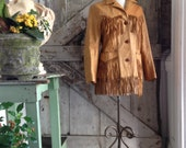 1970s blonde leather jacket 70s fringe western jacket size medium Vintage Poineer Wear