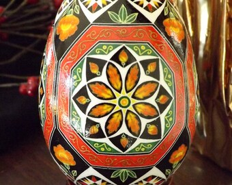Made to Order Sunset Orange / Red Octagons Floral Pysanka Pysanky Batik Ukrainian Style Easter Egg Art EBSQ Plus