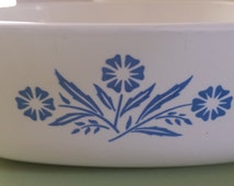 Vintage Corning Ware Set of 2 Cornflower Blue  Casserole Mixing / Serving Bowls