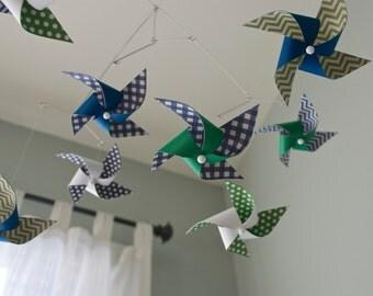 Pinwheel Crib Mobile / Baby Boy Mobile / Nursery Mobile / Navy Blue, White, Green : Mister Twister