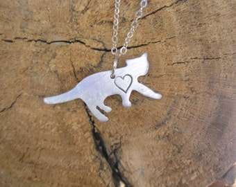 Cat Necklace-Mini Cat with Heart-Rescue Cat- Animal Lover- Pet Memorial-Vegan-Gift-house Cat- Eco Friendly-Mother's Day-necklace