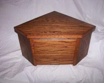 Oak Corner Breadbox with Honey Finish and Roll Up Door